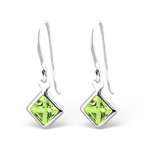 925 Sterling Silver Peridot CZ Diamond Shaped Fishhook Earrings 23942
