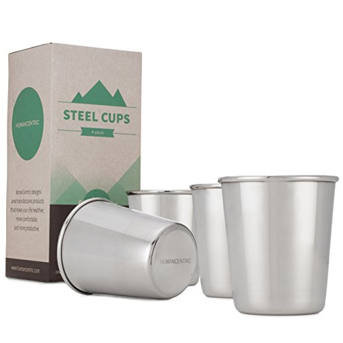 8 Ounce Room Tumbler (Stainless Steel Cups, 8oz cup (Set of 4) - Compact and Convenient Size - by HumanCentric)