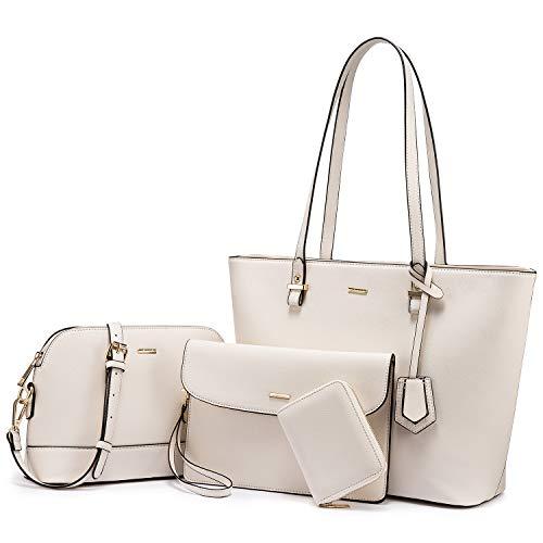 Handbags for Women Shoulder Bags Tote Satchel Hobo 3pcs Purse Set (Beige)