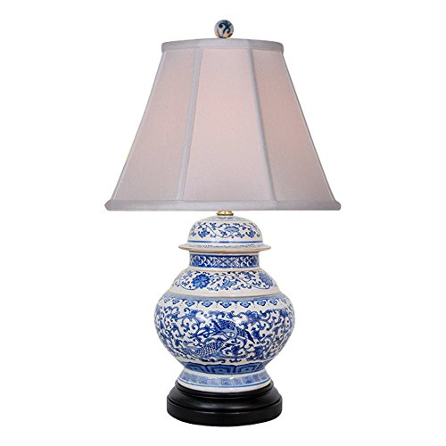 Lamp Jar Ginger Porcelain (Blue and White Porcelain Floral Phoenix Ginger Jar Table Lamp 21.5
