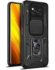 MOONCASE Capa para Xiaomi Poco X3 Pro, policarbonato ultra fino de camada dupla + capa de proteção contra quedas de nível militar TPU macio com anel magnético capa de suporte para Xiaomi Poco X3 Pro - preta
