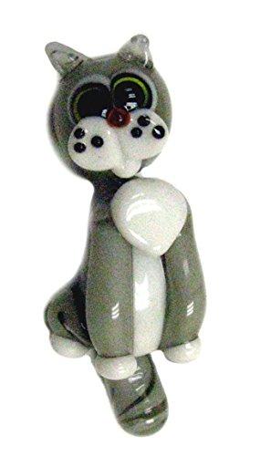 Linpeng Lampwork Glass Novelty Bead, 65 x 24 x 20mm, 2 Part Gray Cat