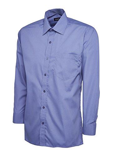 Maglietta da uomo a maniche lunghe, in popeline, da lavoro, Casual formale UC709 uniforme di sicurezza Blu XL