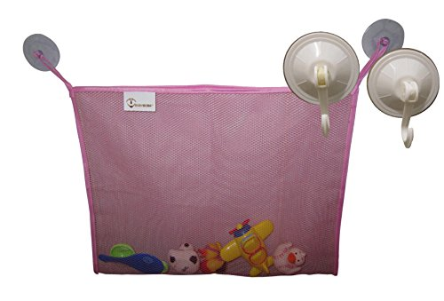babyboba-bath-toy-storage-organizer-with-heavy-duty-suction-cups-mesh-bag-mold-mildew-resistant-pink