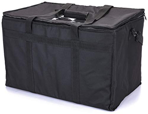 (Insulated Food Delivery Bag; Large Commercial Pan Carrier and Food Warmer; Thick Insulation and Padding for Hot/Cold Food Delivery and Transport; Fits Full-Size Chafing/Catering Dishes.)