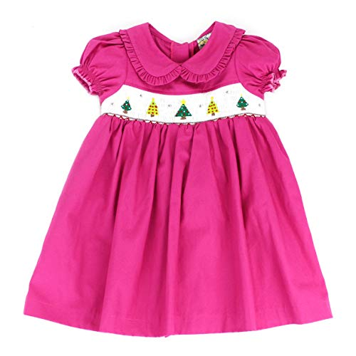 sissymini - Ivy Bells Embroidered Christmas Hand Smocked Dress for Toddlers (Fuchsia Xmas Tree, 4T)