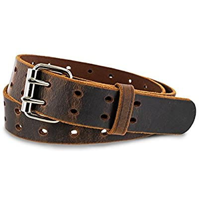 "Hanks Woodstock Men's 1.5"" Double Prong Leather Belt - USA Made, 100-Year Warranty"