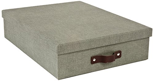 - Bigso Oskar Canvas Paper Laminate Letter Storage Box, Grey