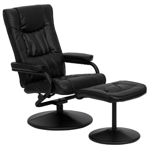 Flash Furniture BT-7862-BK-GG Contemporary Black LeatherSoft Recliner/Ottoman with Wrapped Base