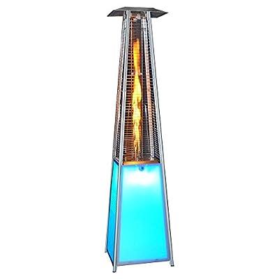 SUNHEAT Contemporary Square LED Glass Tube Propane Patio Heater