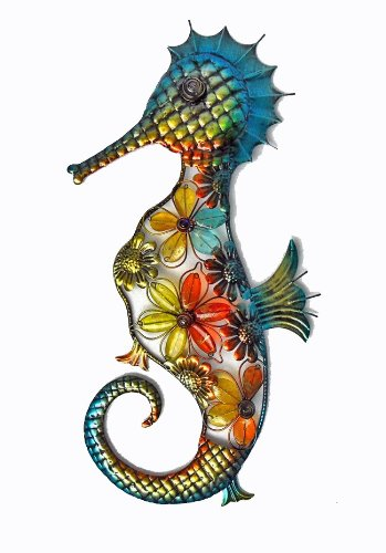 Continental Art Center CAC10121 Acrylic Beaded Flower Seahorse Wall Decor, 21.3 by 11 by 1.6-Inch