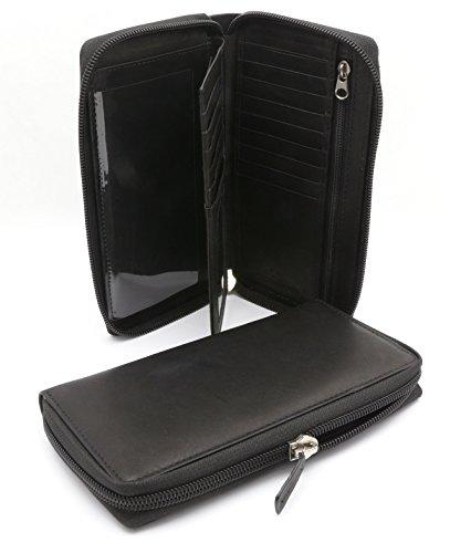 (Bifold Black Leather Checkbook Holder Zip Around Wallet with Detachable Flap)