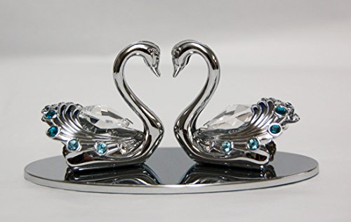 Chrome Plated Twin Swans Free Standing with Swarovski Element Crystal - Also suitable for Wedding or For All Occasions ()