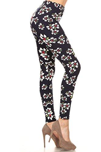 Leggings Depot Women's Ultra Soft Printed Fashion Leggings BAT18 Calming Grace, One Size Fits All