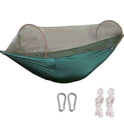 G4Free Portable Camping Hammock Mosquito Net Hammock Tent Capacity 400 Pounds Outdoor Foldable Tree Hammocks(110x50 inch)(Deep Green) -