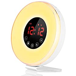 LBell Wake Up Light Alarm Clock, [2018 UPGRADED] Digital Alarm Clock with Sunrise Simulation, 7 Colors Night Light, 6 Nature Sounds, FM Radio for Bedrooms and Heavy Sleepers by