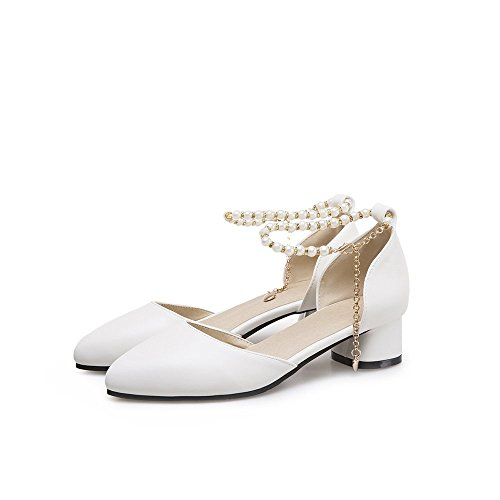 with Casual Women Summer Spring Sorliva Heel White Toe Pearls Shoes Round Shoes Low Sandals Pumps xq1qSnwf