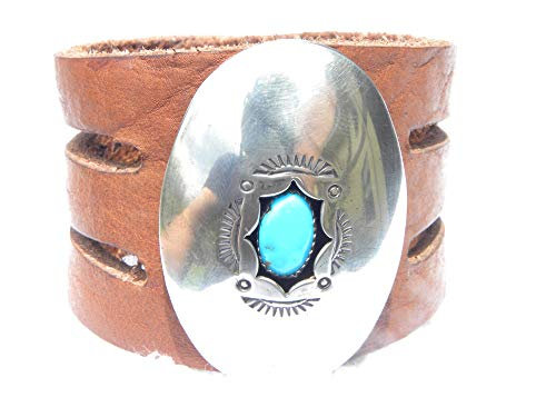 Sterling Turquoise Vintage Bracelets - Vintage Sterling Silver turquoise Bison leather bracelet customize to wrist size