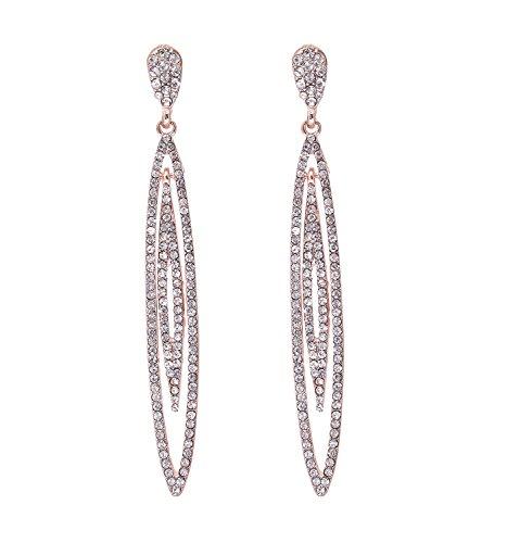 Pierced Needle Leaves Dangle Earrings Rhinestone Ear Stud Hollow Leaf Drop Earrings for Women