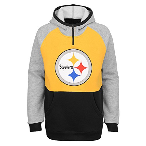 Outerstuff NFL Pittsburgh Steelers Youth Boys Regulator Hooded 1/4 Zip Top, Gold, Youth Large(14-16)