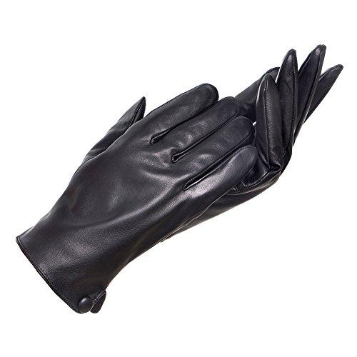 AmelieDress Men's Genuine Sheepskin Plus Velvet Gloves Short Winter Leather Mitten QFGS807 (M=9.5, (Plus Black Gloves)
