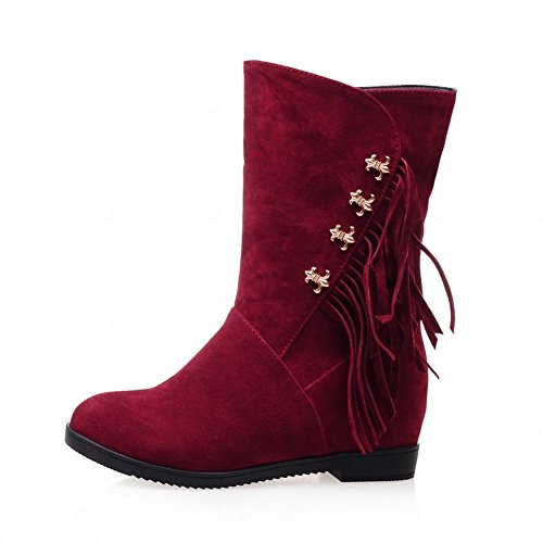 Carolbar Womens Tassels Fashion Spring & Autumn Use Warm Wedge Heel Dress Boots Wine Red fwttm