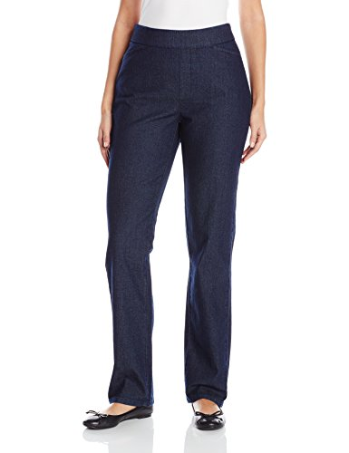 (Chic Classic Collection Women's Plus Size Easy Fit Elastic Waist Pull On Pant, Dark Shade, 8 Average )