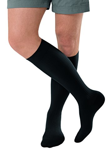JOBST forMen Ambition Knee High with SoftFit Technology Band, 20-30 mmHg Ribbed Dress Compression Socks, Closed Toe, 6 Long, Black