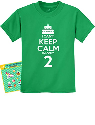 2nd Birthday Gift Can't Keep Calm I'm Two Birthday Cake 2 Year Old Kids T-Shirt 2T Green