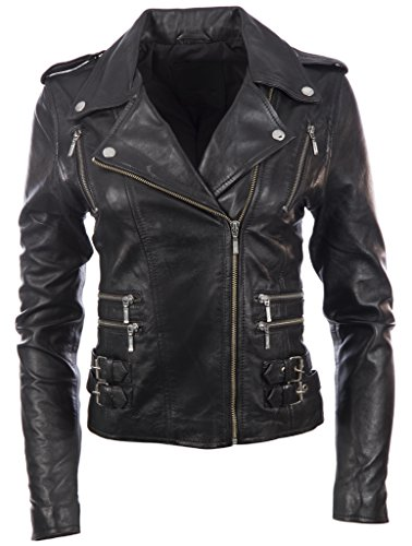 Jacket Leather AGSM Black MDK Biker Multi Zip Fashion Real Women's O0qw04p