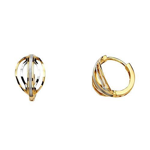 Jewels By Lux 14K White And Yellow Two Tone Gold Huggie Endless Hoop Womens Earrings 12MM X 12MM