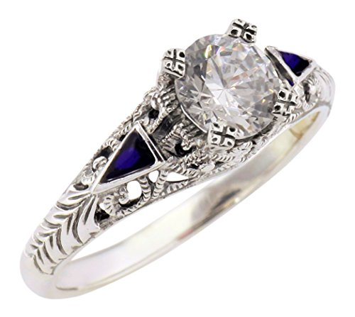 Jansjewells Art Deco Style Sterling Silver .85ct Cubic Zirconia and Enamel Ring