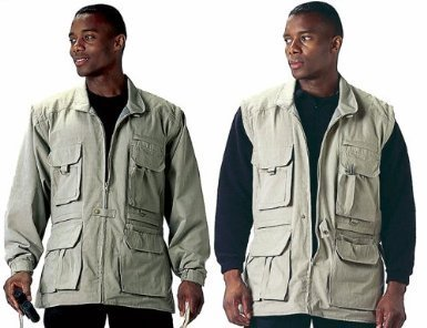 Khaki Convertible Safari Outback Trailblazer Jacket and Vest 7590 Size Medium ()