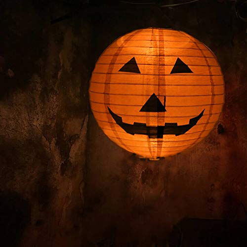 Anferstore Orange Halloween Paper Pumpkin Round Lantern DIY