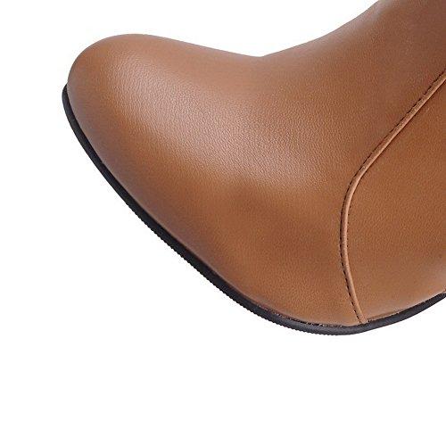 Allhqfashion Mujeres Round Closed Toe Tacones Altos Material Blando High Top Solid Botas Amarillas