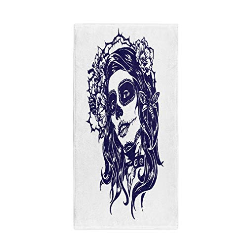 Semtomn 30 x 60 Inches Bath Towel Girl Skeleton Make Up Sketch Santa Muerte Woman Witch Soft Absorbent Travel Guest Decor Hand Towels Washcloth for Bathroom(One Side Printing)
