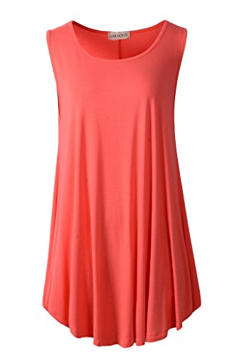 LARACE Women Solid Sleeveless Tunic for Leggings Swing Flare Tank Tops (S, Watermelon)