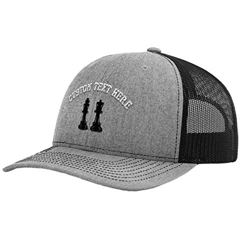 Custom Richardson Trucker Hat King and Queen Chess Pieces Embroidery Polyester Mesh Baseball Cap Snaps Heather Gray/Black Personalized Text Here