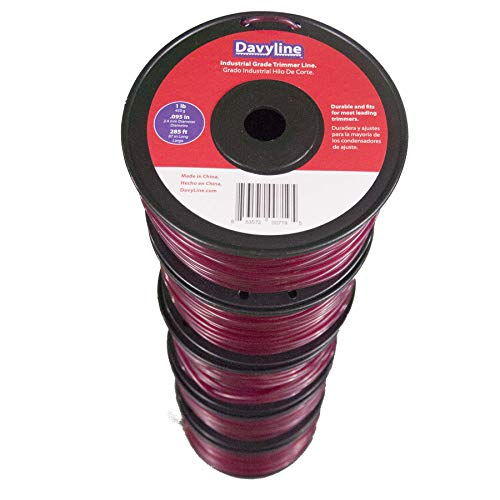 5-LB of DavyLine Industrial Grade Trimmer Line .095 in Diameter in 5 Spools of 1-LB 285 FT Each (Total: 1425 Ft) Round-Shaped Nylon Weed Eater String Red Color