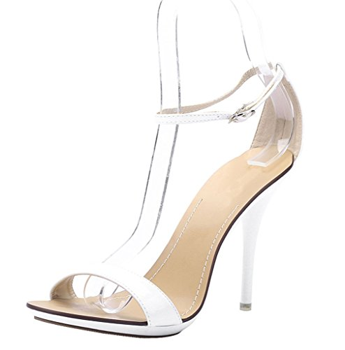 CAMSSOO Womens Sexy Open Toe Ankle Strap High Heel Dress Wedding Party Summer Stiletto Sandal White Patent PU 1R9qb0