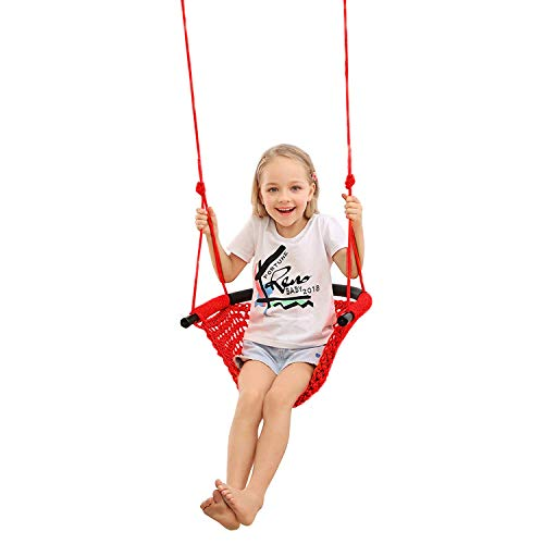 JKsmart Swing Seat for Kids Heavy Duty Rope Play Secure Children Swing Set,Perfect for Indoor,Outdoor,Playground,Home,Tree,with Snap Hooks and Swing Straps,440 lbs Capacity,Red(Patent Pending)