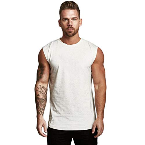 Mens Compression Shirt Slimming Body Shaper Vest Workout Tank Tops Abs Abdomen Undershirts White