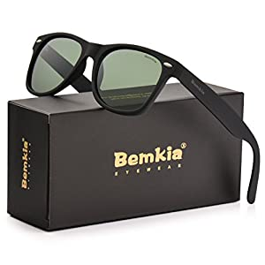 Men Wayfarer Polarized Sunglasses Women UV 400 Protection 54 MM Matte Frame by Bemkia