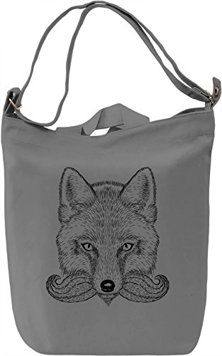 Moustache fox Borsa Giornaliera Canvas Canvas Day Bag| 100% Premium Cotton Canvas| DTG Printing|