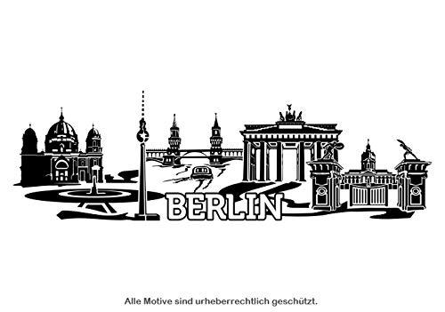 Wandtattoo Skyline Berlin XXL Text Stadt Wand Aufkleber Wandsticker Wandaufkleber Deko sticker Wohnzimmer Autoaufkleber 1M140, Skyline Größe:Länge 280cm