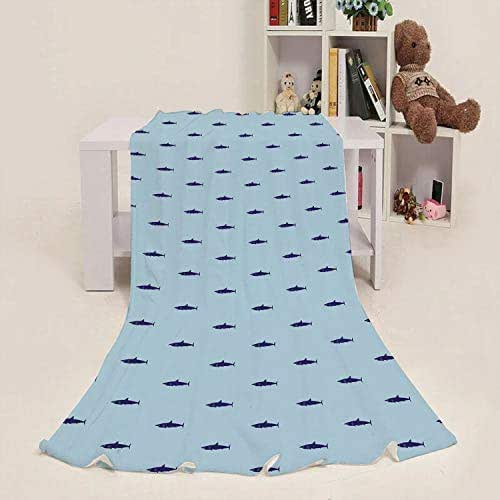 Child Blanket Shark,Ocean Life Pattern in Blue Shades Wildlife Under The Sea Saltwater Fauna,Navy Blue Pale Blue 50