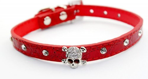 Enjoying Adjustable Large Puppy Dog Pet Doggie Cats Leather Collars Necklaces With Crystal Skull L -Red