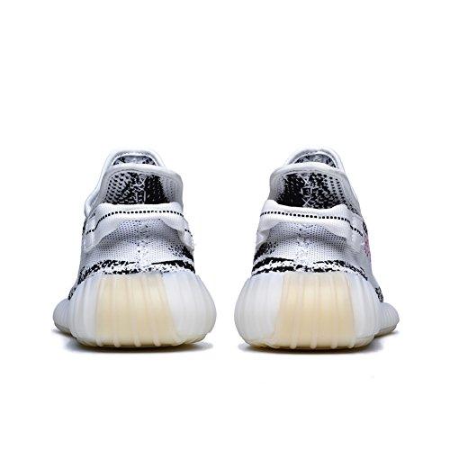 Leeng Herren Damen Atmungsaktive Mesh 350 V2 Sport Sneakers Zebra Farbe
