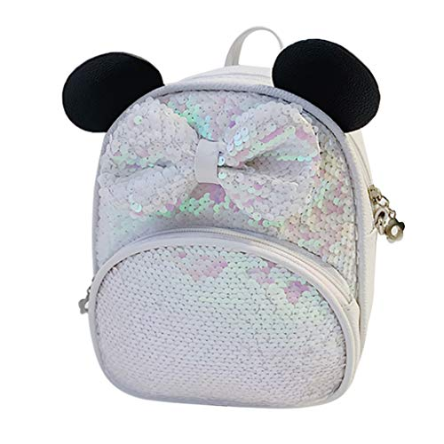 (Sequin Bakpack for Girls Bowknot Daypack with Cute Ears Cartoon Shoulder Bag Lightweight Mini Crossbody Bag By Lmtime(White))