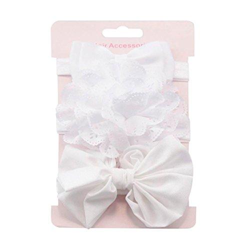 Clearance! 3pcs Baby's Headbands Girl's Cute Hair Bows Hair Bands Newborn Headband (White) by Bookear (Image #1)